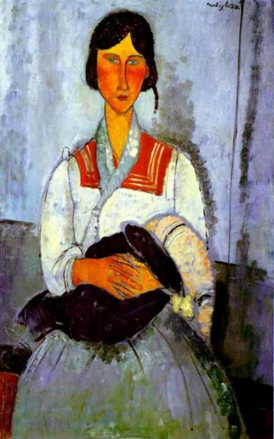 Gitana con niño, 1919. Amadeo Modigliani (1884-1920). National Gallery of Art. Washington. Estados Unidos.