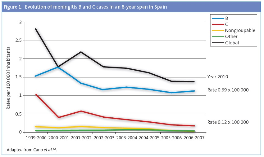 Figure 1. Evolution of meningitis B and C cases in an 8-year span in Spain