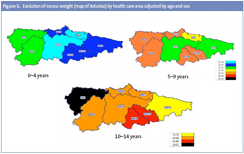 Figure 5. Evolution of excess weight (map of Asturias) by health care area adjusted by age and sex