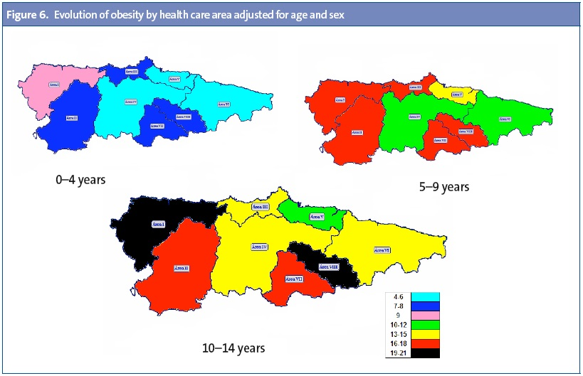 Figure 6. Evolution of obesity by health care area adjusted for age and sex