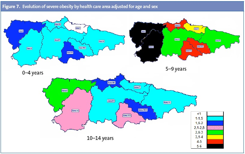 Figure 7. Evolution of severe obesity by health care area adjusted for age and sex