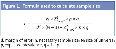 Figure 1. Formula used to calculate sample size
