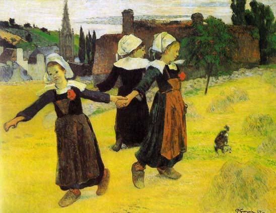 Tres niñas bretonas bailando. Paul Gauguin, 1888